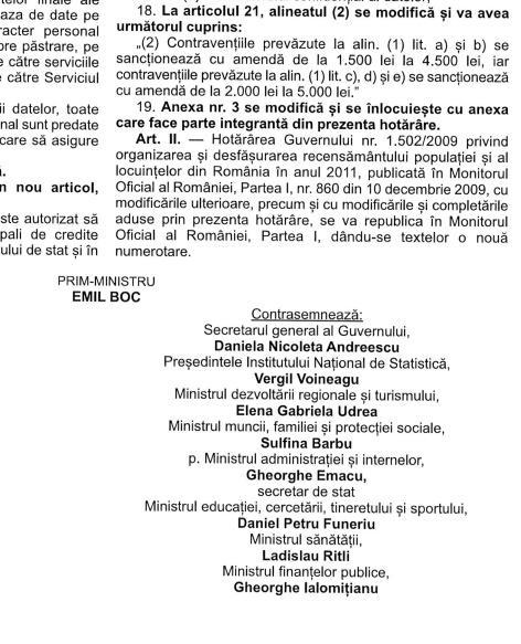 amenzi la recensamant aprobate de Boc, Udrea, Funeriu, et comp