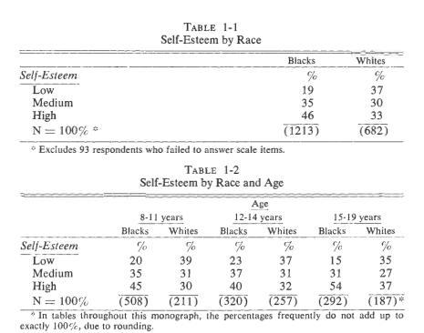 Scala Rosenberg - analiza stmei de sine la subiecti albi si negri
